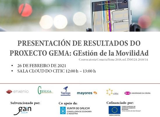 divulgación de resultados do proxecto Gema gestión de la movilidad